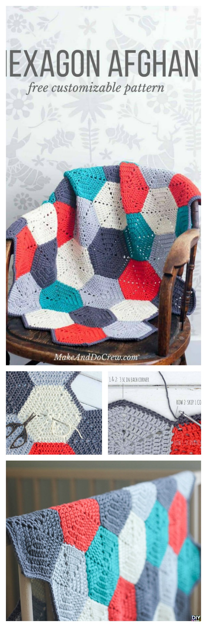 diy4ever- Crochet Hexagon Afghan - Free Pattern