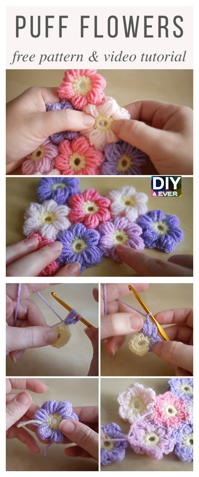 Crochet Puff Flowers - Free Pattern & Video Tutorial
