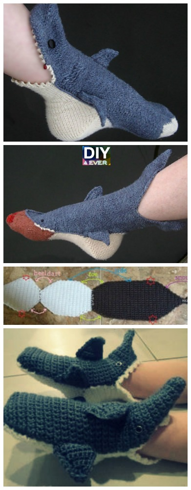 Crochet Shark Slippers Free Pattern
