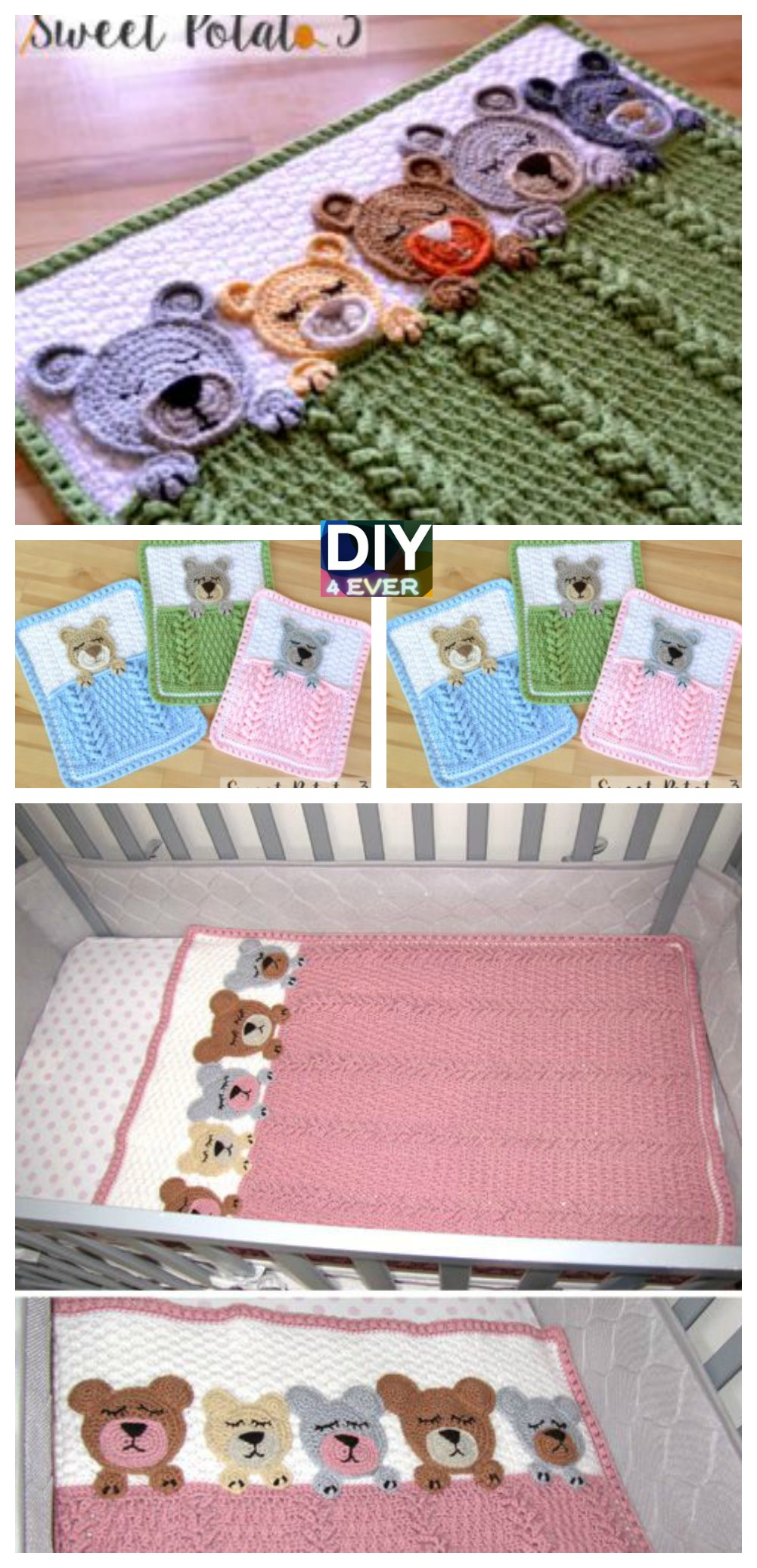 Sleep Tight Teddy Bear Blanket - Free Pattern - DIY 4 EVER