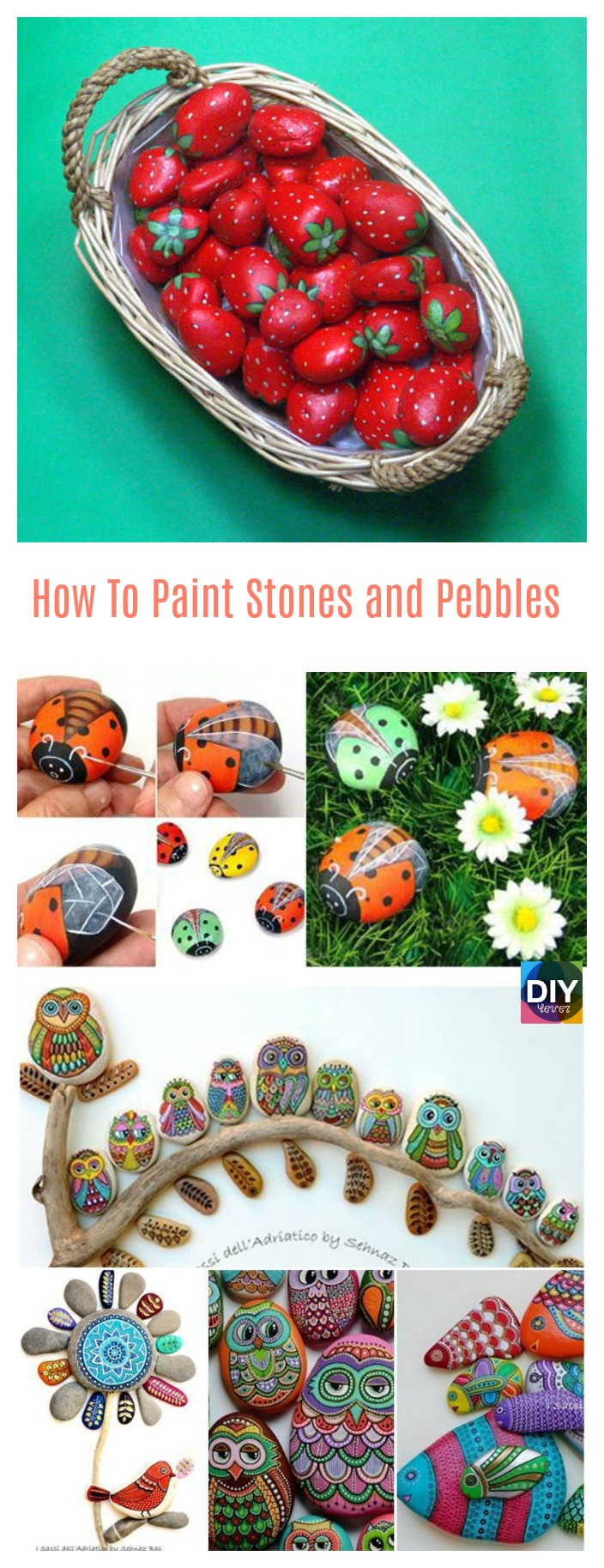 diy4ever- How To Paint Stones and Pebbles