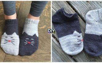 Knit YinYang Ankle Kitty Socks Free Pattern F 332x205 - Knit YinYang Kitty Socks -Free Pattern