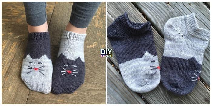 Knit Yinyang Kitty Socks Free Pattern Diy 4 Ever
