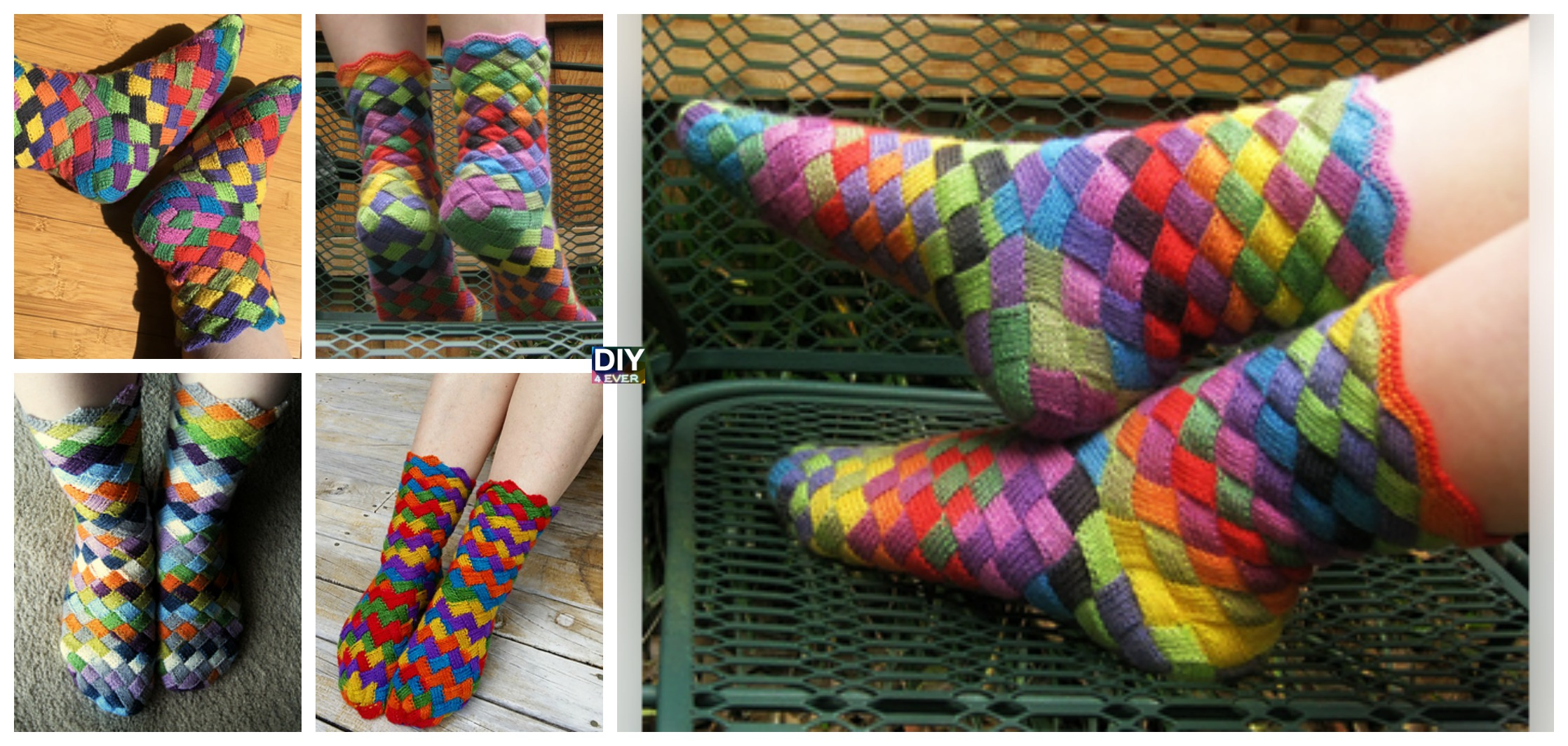 Rainbow Patch Socks Knitted Free Pattern - DIY 4 EVER