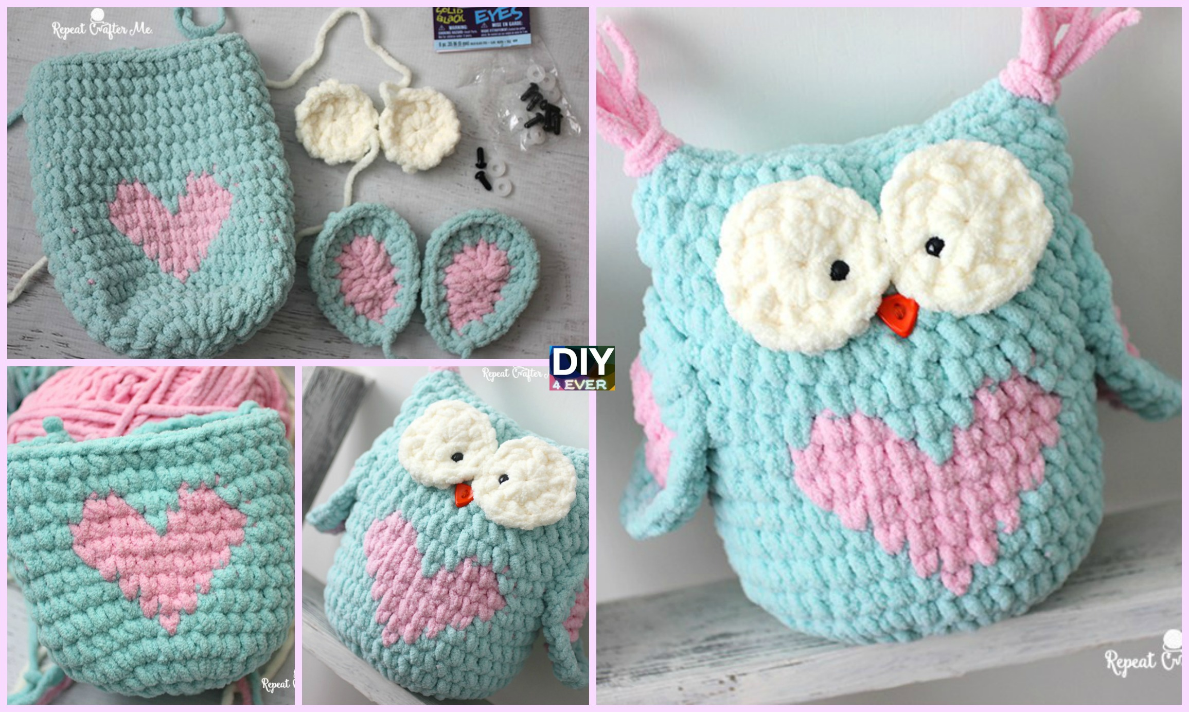 Valentine Heart Crochet Owl - Free Pattern - DIY 4 EVER