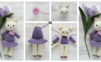 diy4ever-Crochet Amigurumi Kitty In Lilac Dress - Free Pattern