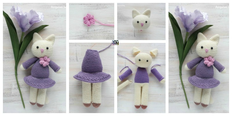 Crochet Amigurumi Kitty in Lilac Dress - Free Pattern - DIY 4 EVER
