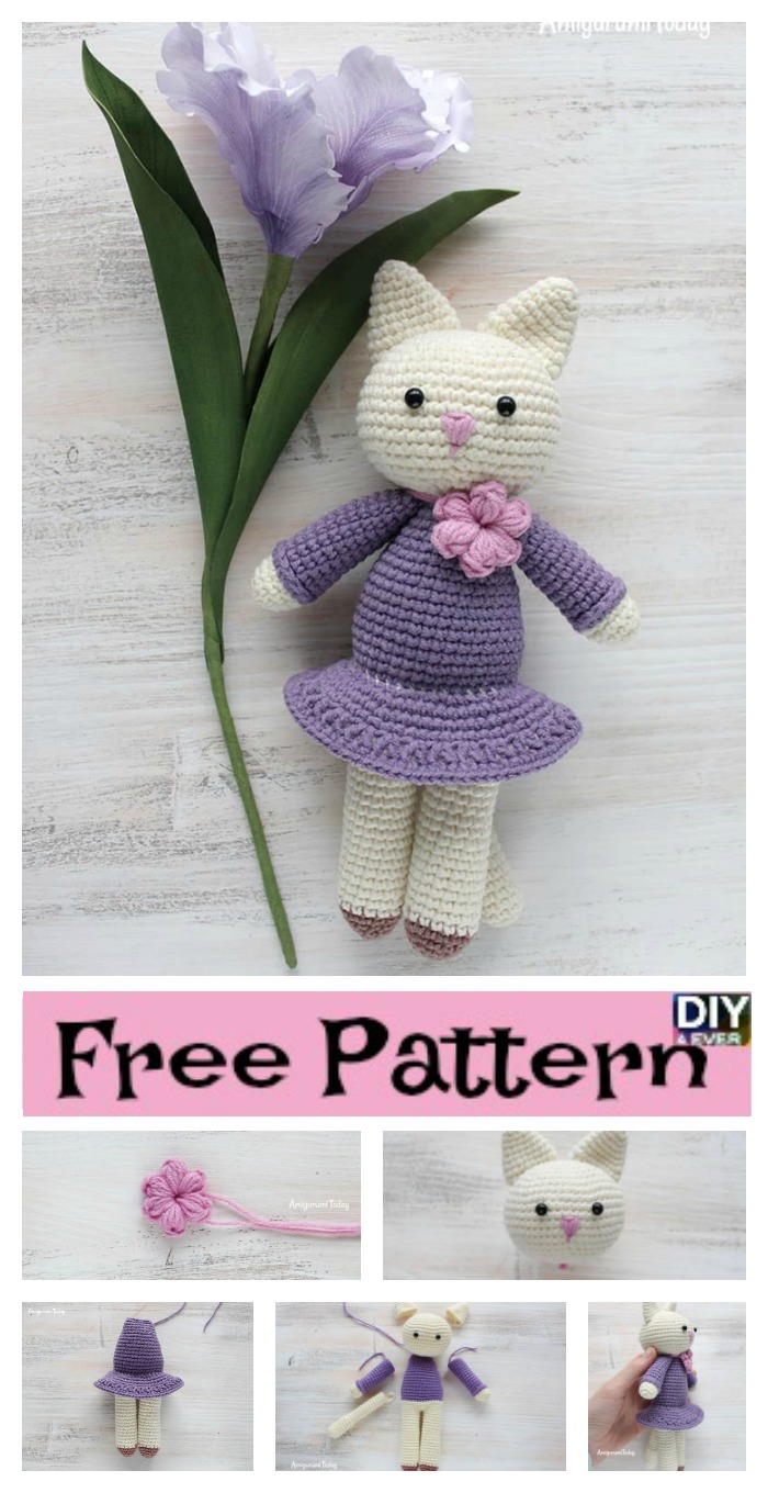 Crochet Amigurumi Kitty In Lilac Dress - Free Pattern