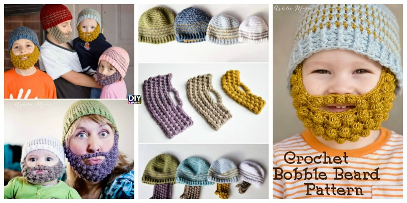 Crochet Bobble Beard Beanie Free Pattern Diy 4 Ever