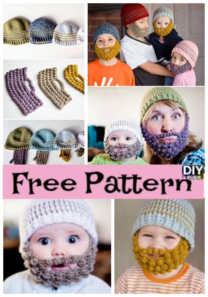 diy4ever-Crochet Bobble Beard Beanie-Free-Pattern