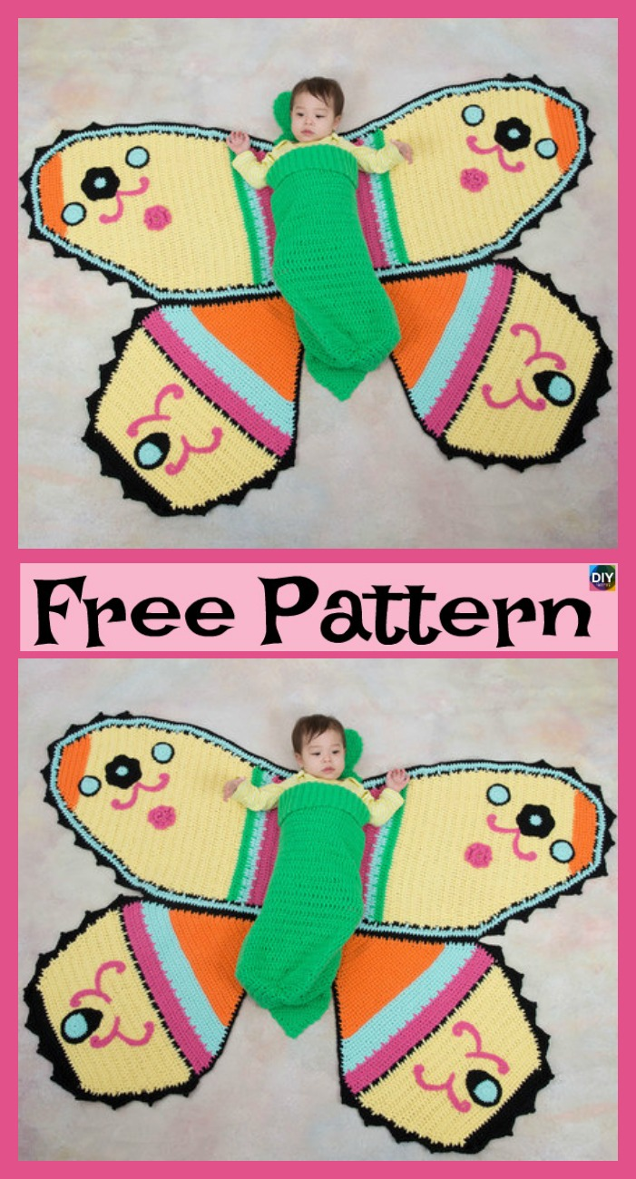 diy4ever-Crochet Butterfly Baby Blanket – Free Pattern