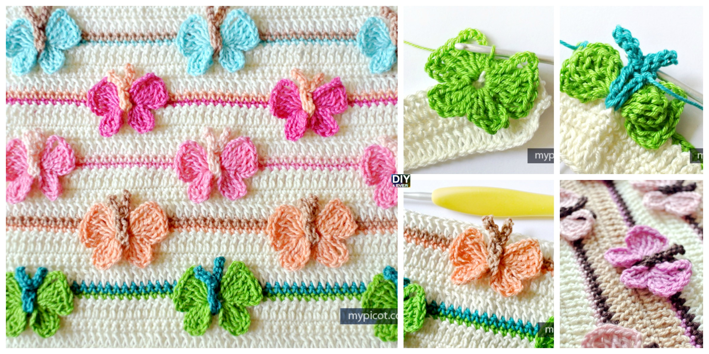 Crochet Butterfly Baby Blanket - Free Pattern - DIY 4 EVER