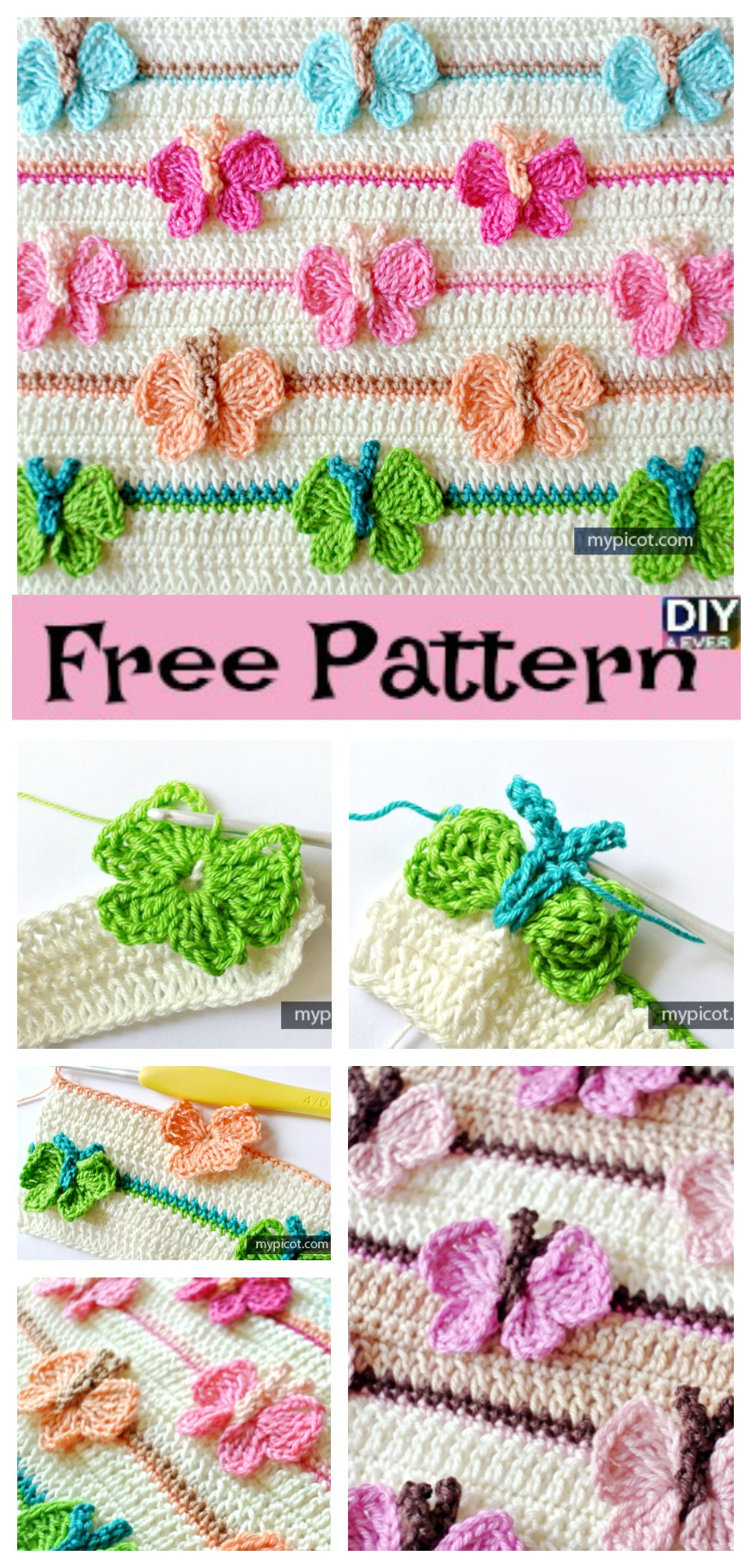 diy4ever- Crochet Butterfly Baby Blanket - Free Pattern