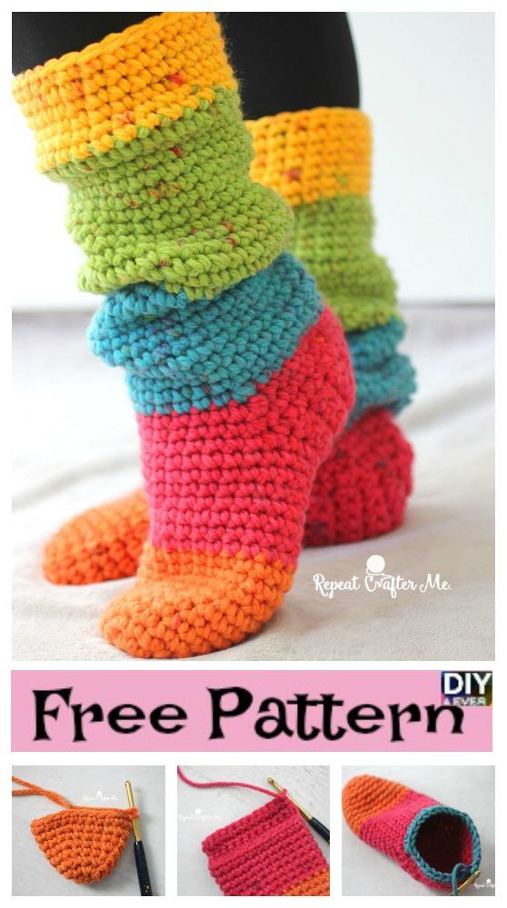 diy4ever-Crochet Chunky Cake Slipper Socks - Free Pattern