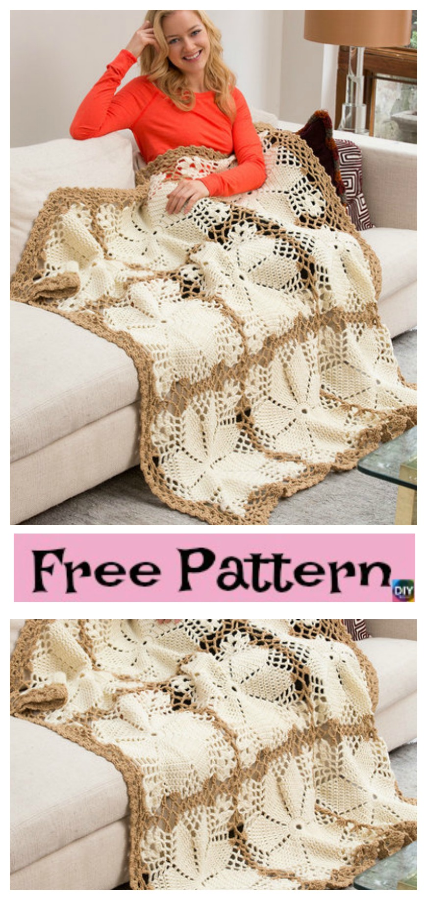 diy4ever-Crochet Lacy Floral Throw - Free Pattern