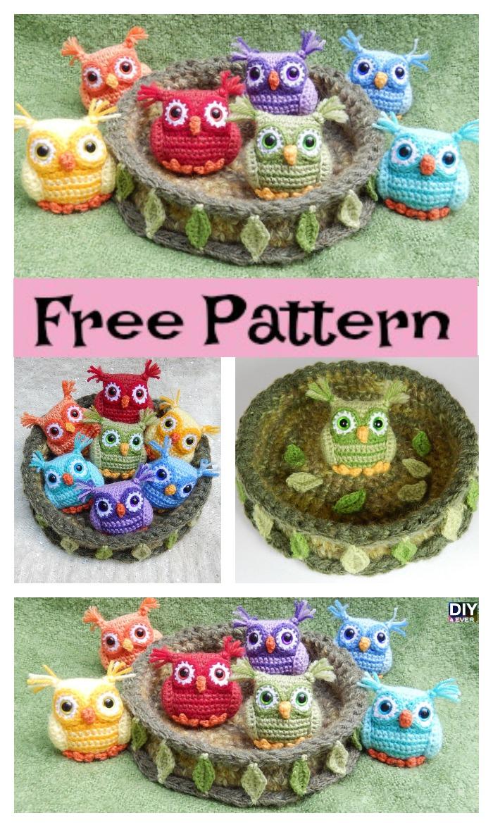 diy4ever- Crochet Nesting Rainbow Owls - Free Pattern