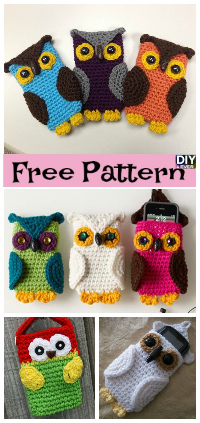 diy4ever- Crochet Owl Cell Phone Cozy -Free Pattern