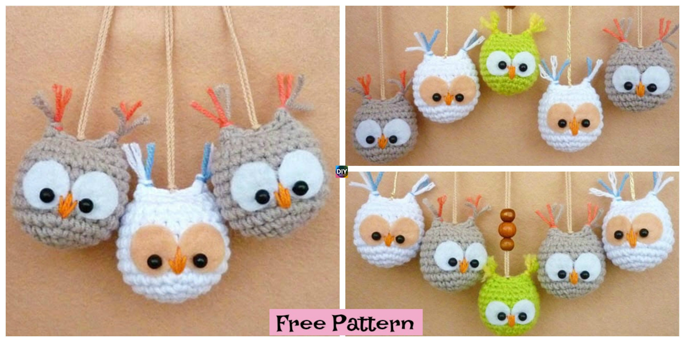 Crochet Owl Keychain - Free Pattern - DIY 4 EVER