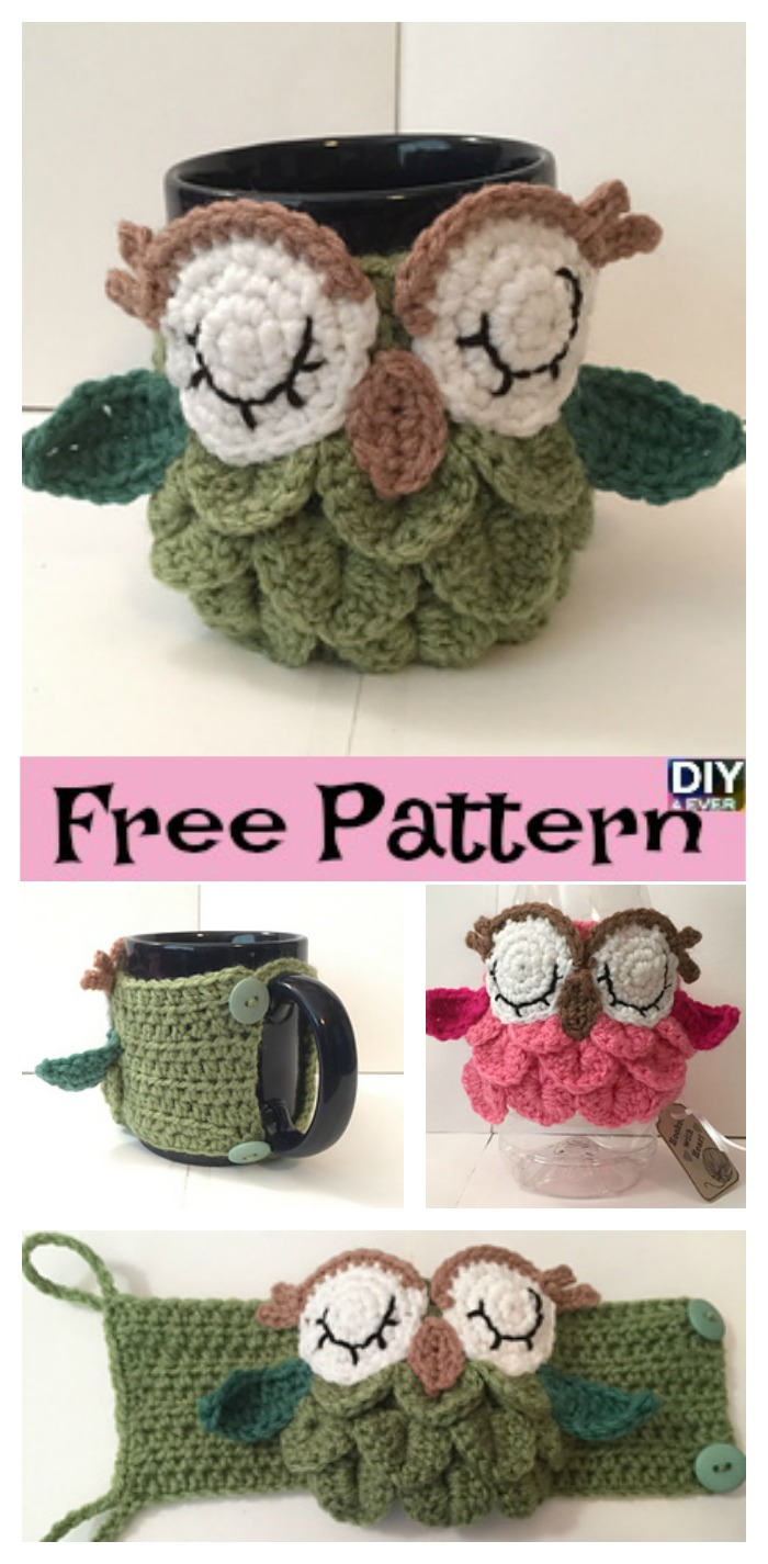 diy4ever- Crochet Owl Mug Cozy - Free Pattern