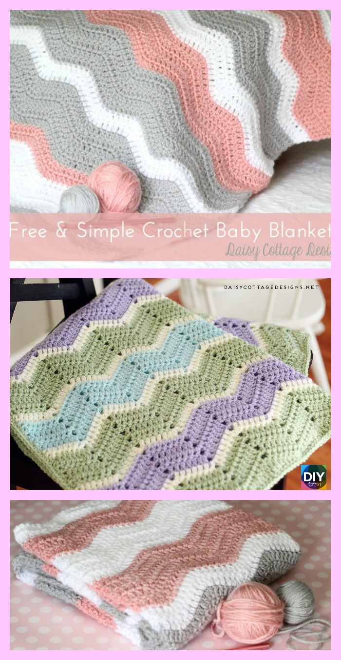 diy4ever- Crochet Ripple Baby Blanket - Free Pattern