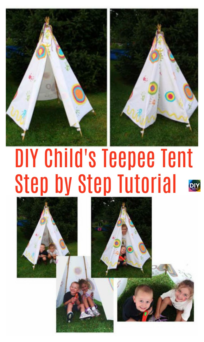 diy4ever- DIY Child's Teepee Tent Step by Step Tutorial