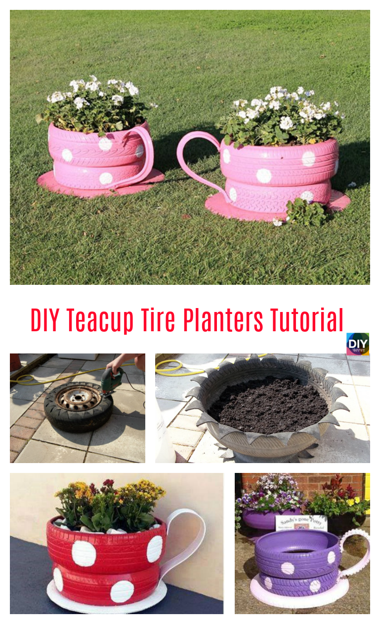 diy4ever- DIY Teacup Tire Planters Tutorial