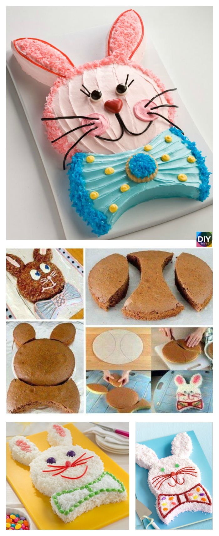 diy4ever-Easy DIY Easter Bunny Cake Tutorial