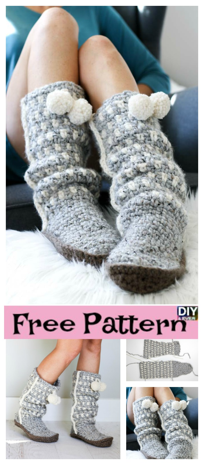 diy4ever- Easy Stylish Crochet Slippers – Free Pattern