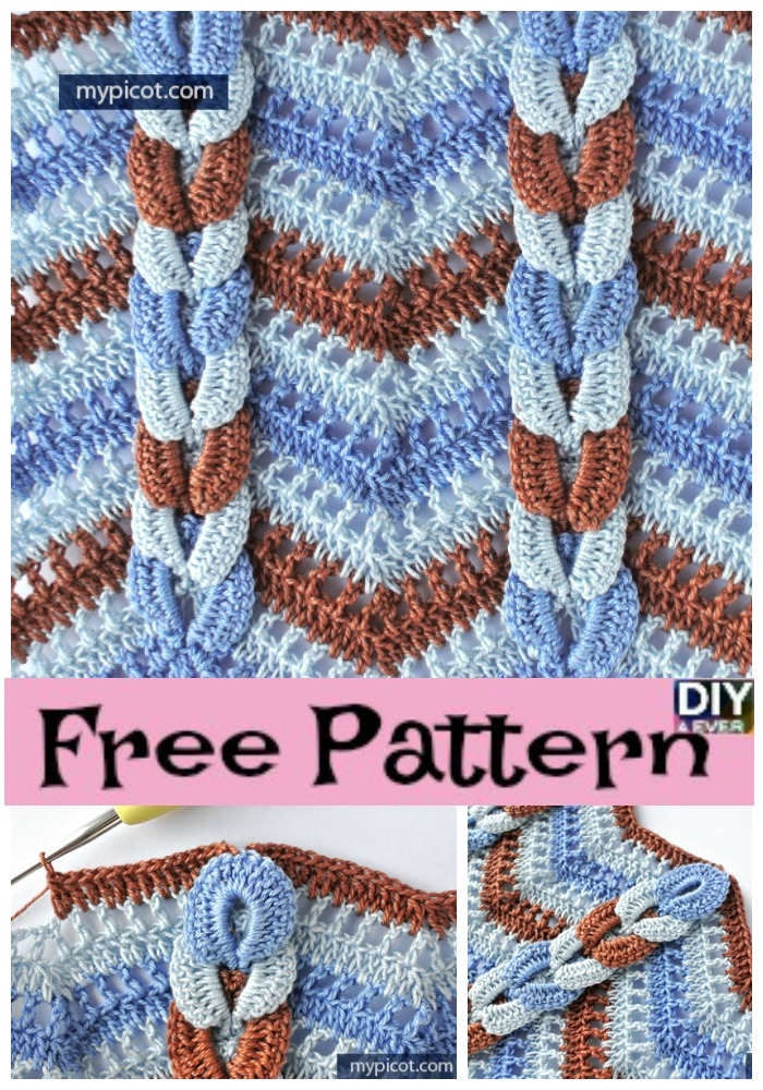 diy4ever- How to Crochet Cable Wave Stitch