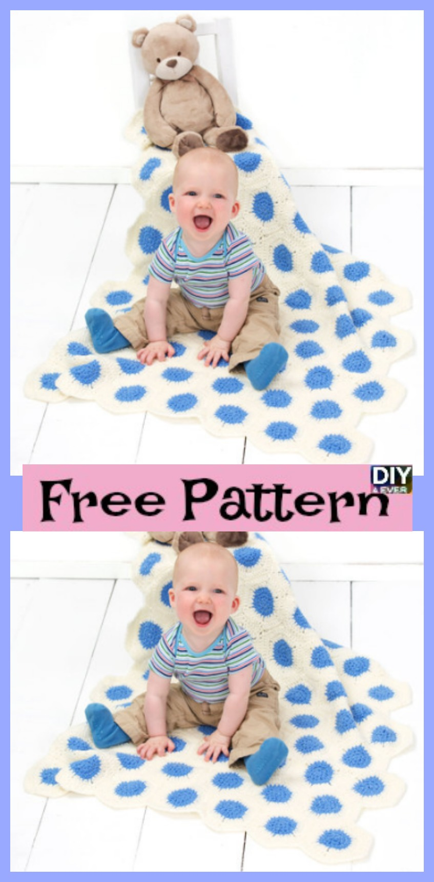 diy4ever-Polka-Dot Crochet Baby Blanket - Free Pattern