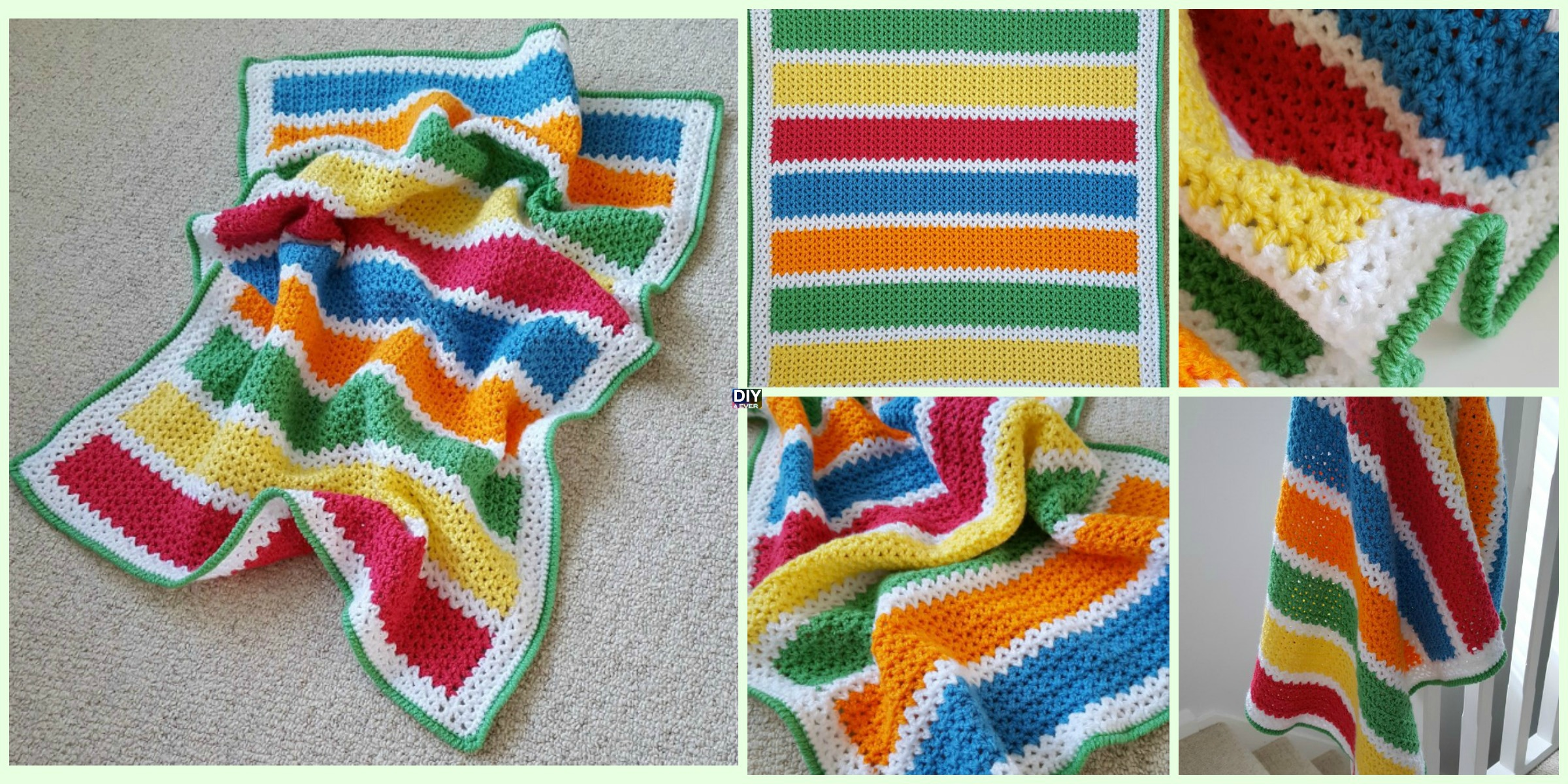 Crochet V-Stitch Baby Blanket - Free Pattern - DIY 4 EVER