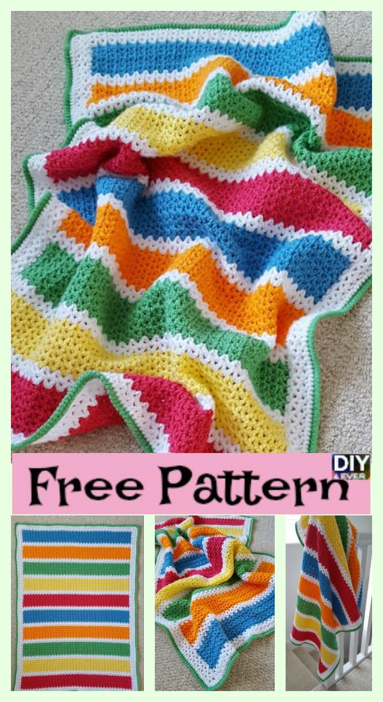 diy4ever-Crochet V-Stitch Baby Blanket - Free Pattern