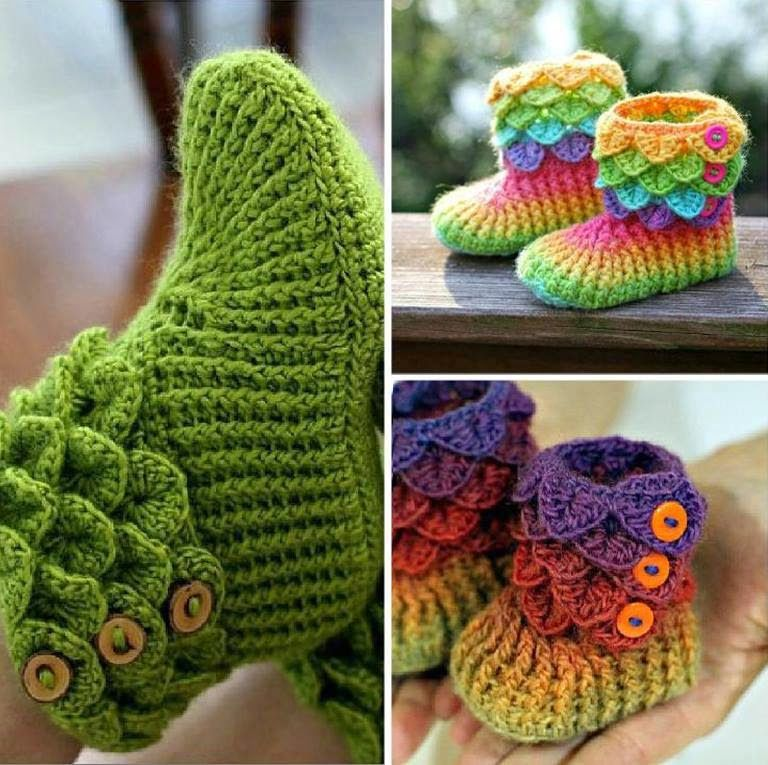 DIY4ever- Crochet Crocodile Stitch Booties - free&paid Patterns & Video