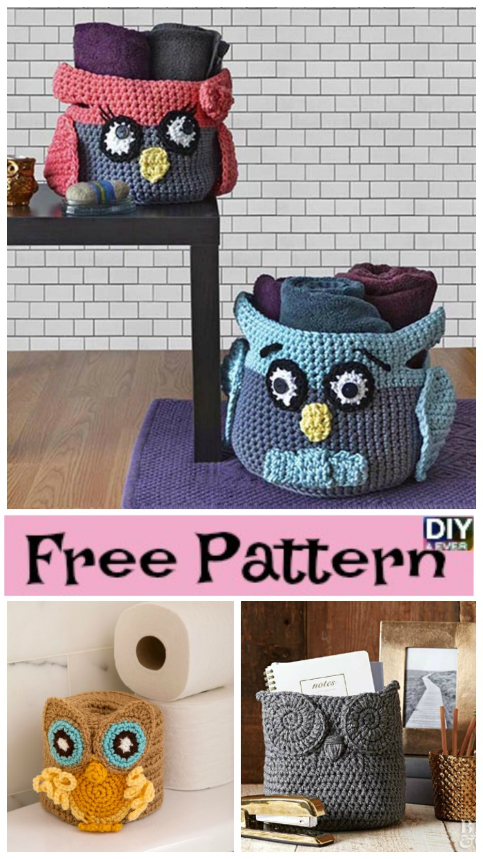 DIY4ever-Crochet Owl Basket - Free Patterns