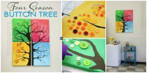 DIY4EVER- 4 Seasons Button Tree Wall Art DIY Tutorial