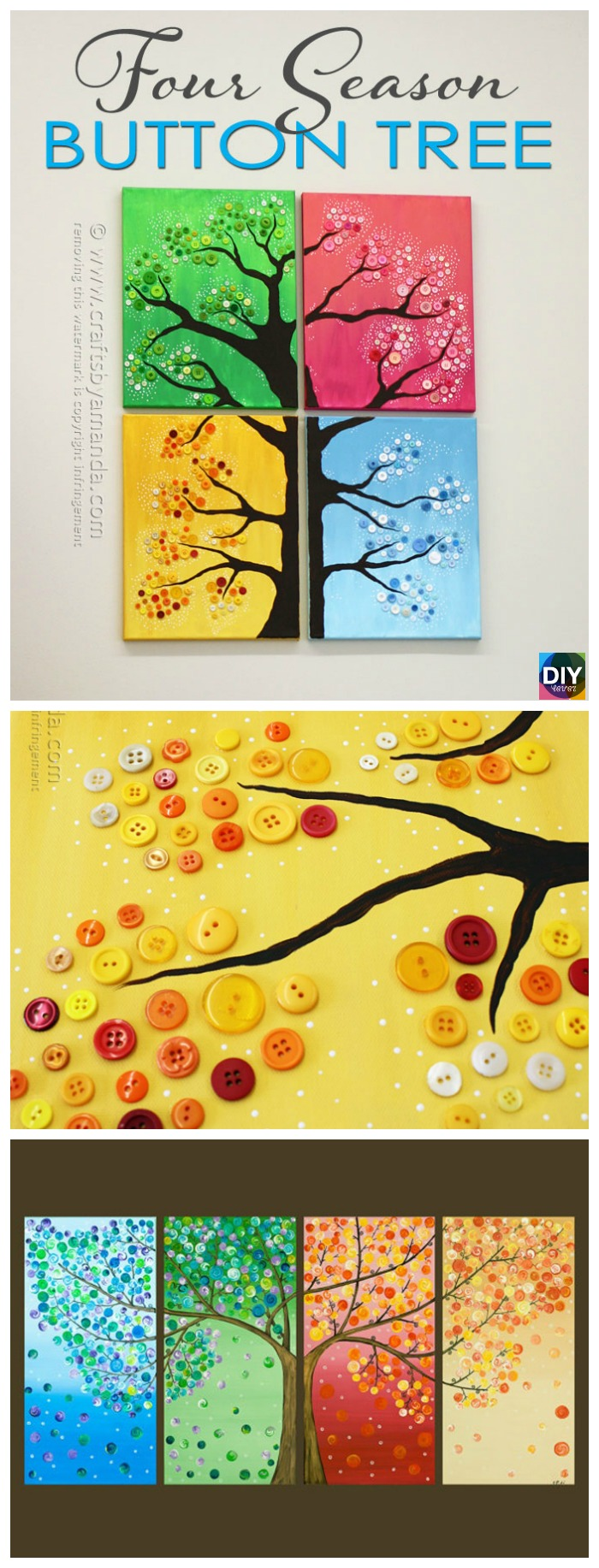DIY4EVER- 4 Seasons Button Tree Wall Art DIY Tutorial