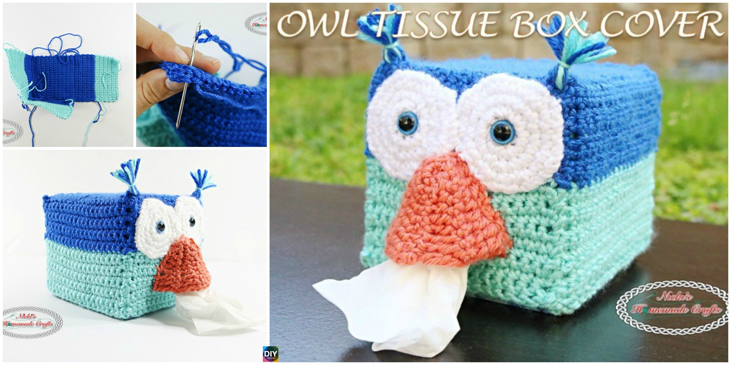 Crochet Owl Tissue Box Cover – Free Pattern - DIY 4 EVER