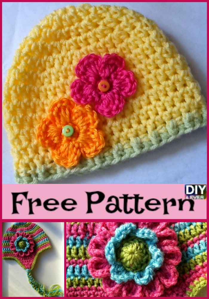 DIY4ever- Beautiful Crochet Flower Hats - Free Patterns