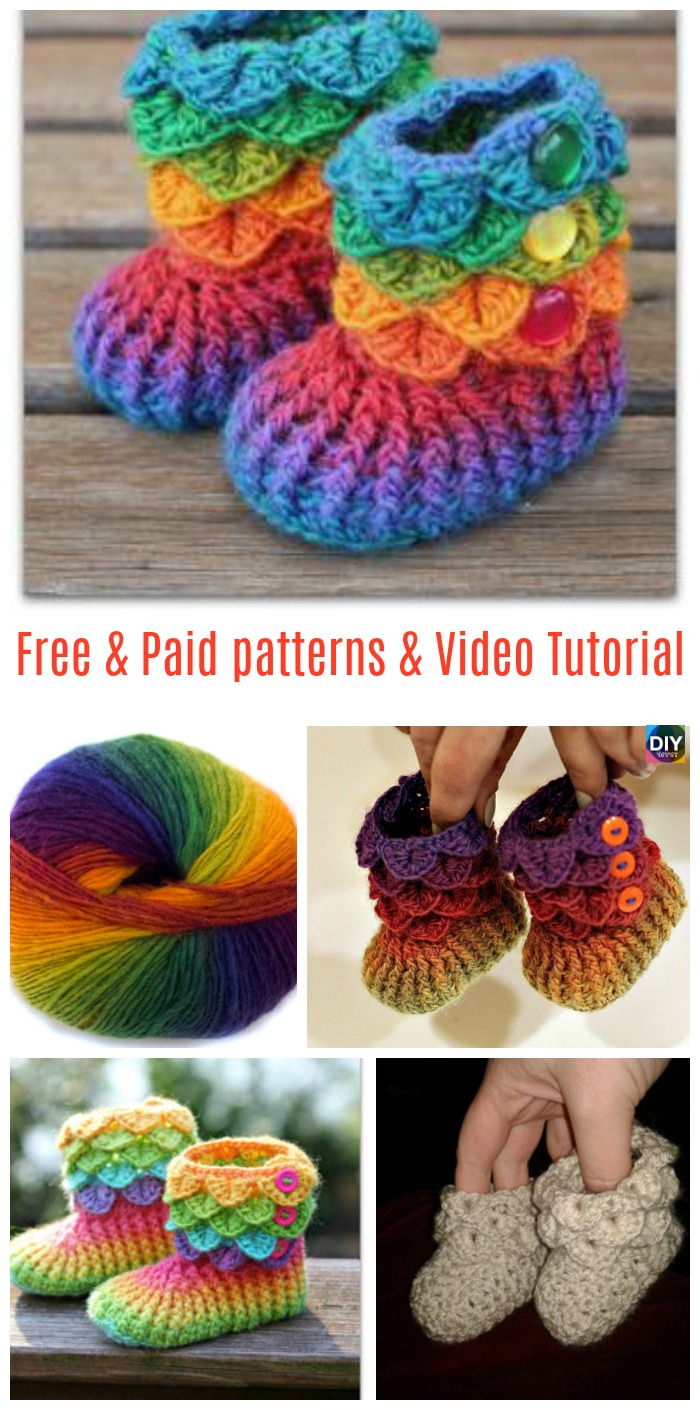 Crochet Crocodile Stitch Booties Free Paid Patterns Diy 4 Ever