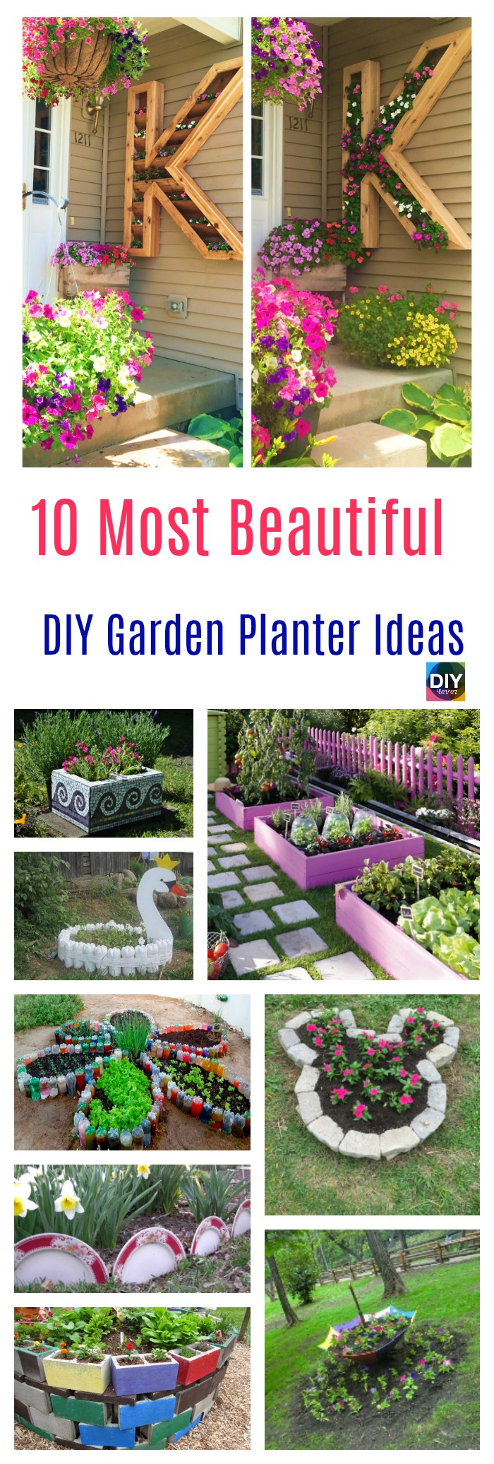diy4ever- 10 Most Beautiful DIY Garden Planter Ideas