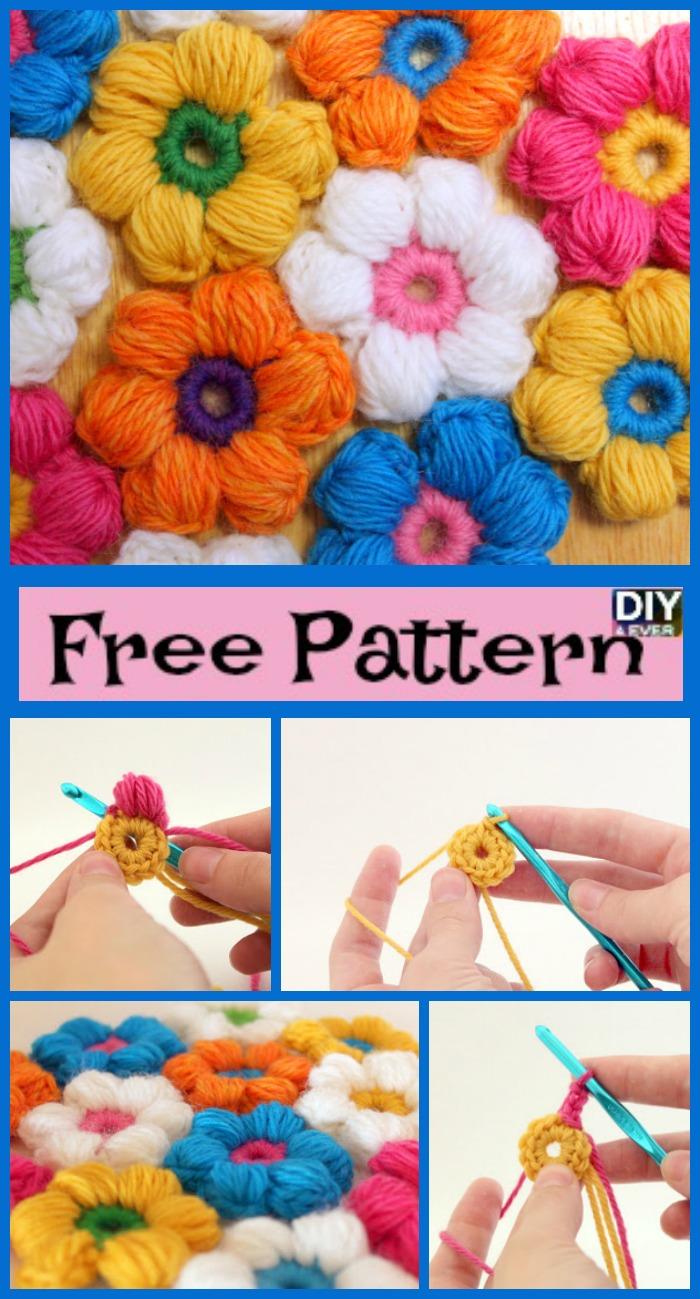 6 Petal Crochet Puff Stitch Flowers - Free Pattern - DIY 4 EVER