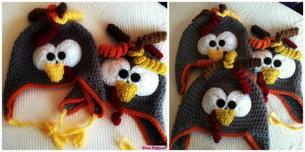 Adorable Crochet Turkey Earflap Hat - Free Pattern - DIY 4 EVER