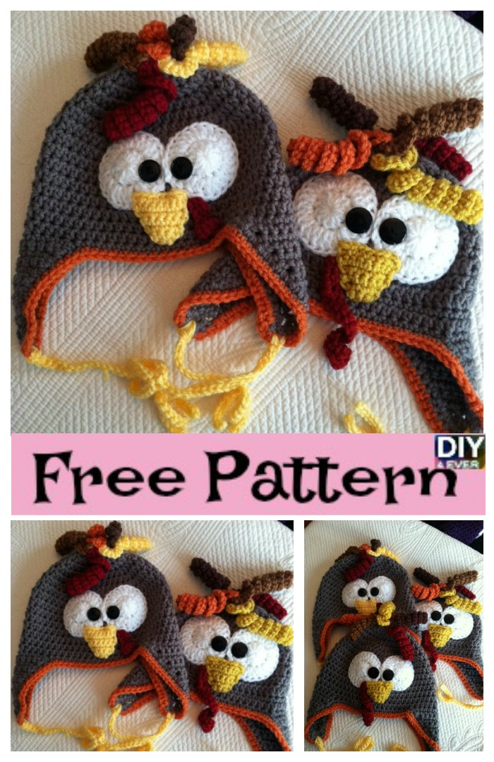 Adorable Crochet Turkey Earflap Hat - Free Pattern - DIY 4 EVER