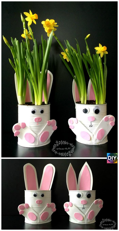 diy4ever- Adorable DIY Tin Can Bunny Planters