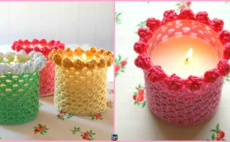 diy4ever- Bobbled Crochet Candle Holder Cover - Free Pattern