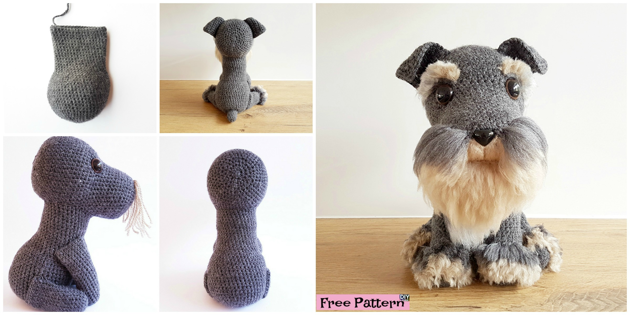 diy4ever- Crochet Amigurumi Schanuzer Dog - Free Pattern