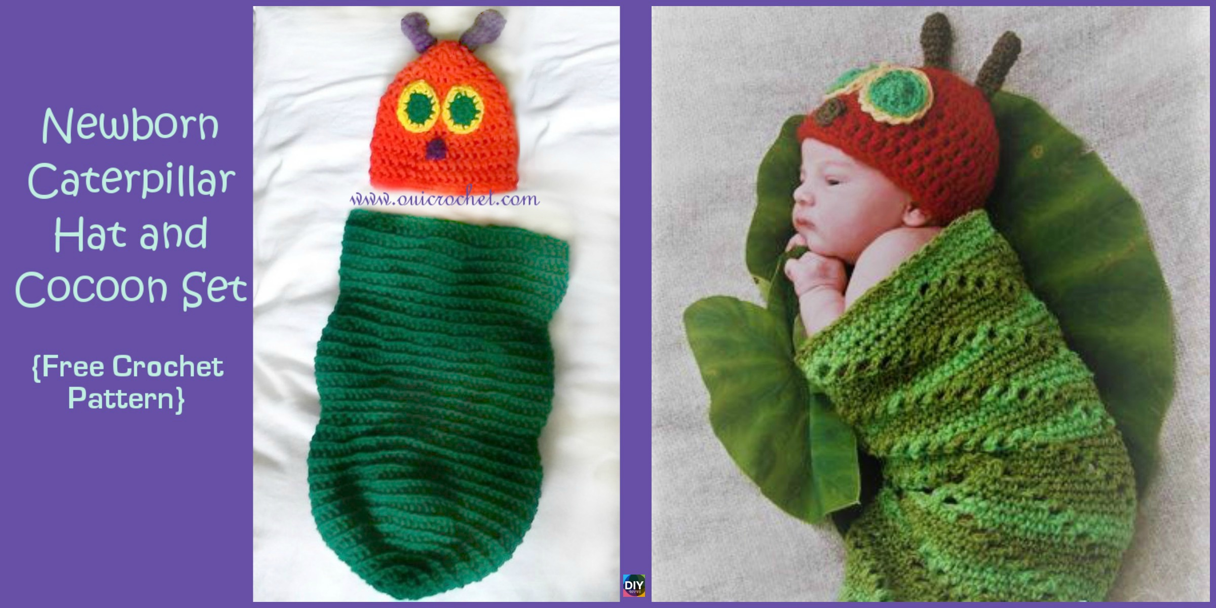 Crochet Caterpillar Hat Cocoon Set - Free Pattern - DIY 4 EVER
