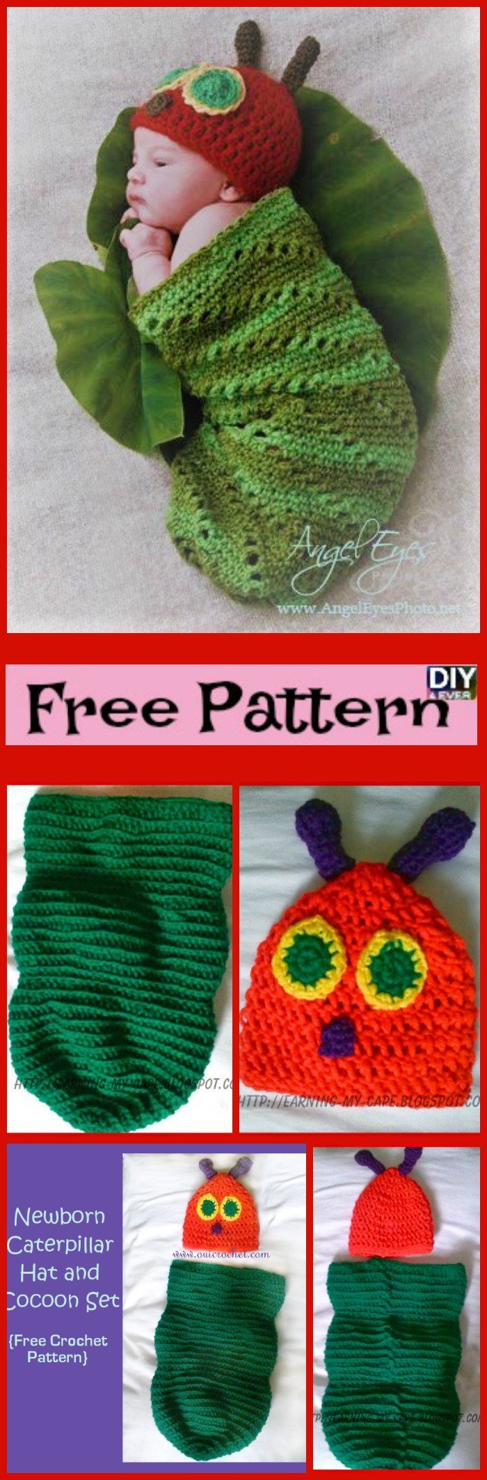diy4ever- Crochet Caterpillar Hat Cocoon Set - Free Pattern