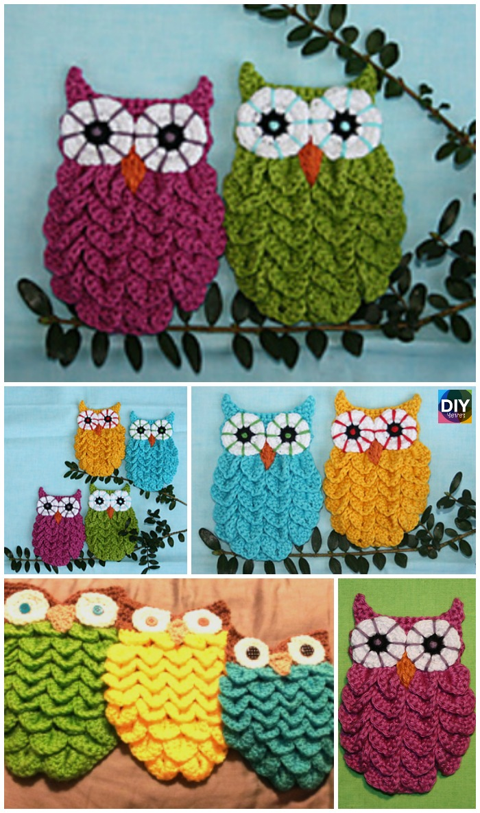 diy4ever-Crochet Crocodile Stitch Owls -free & paid pattern