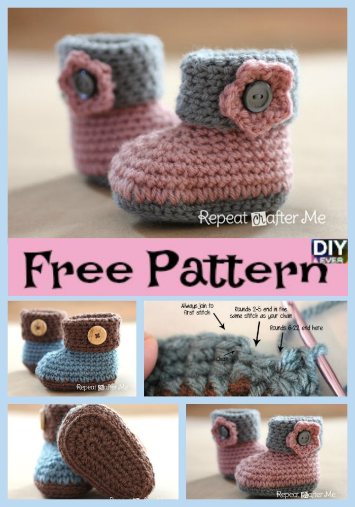 diy4ever-Crochet Cuffed Baby Booties - Free Pattern
